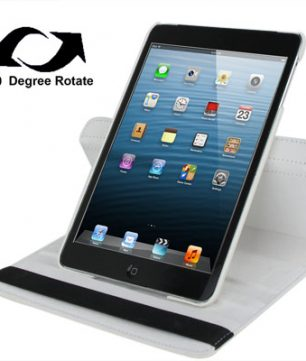 Draaibare Lederen Hoes en Houder voor iPad Mini Wit
