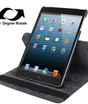 Draaibare Lederen Hoes en Houder voor iPad Mini Zwart