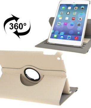 Handige Draaibare Hoes voor de Apple iPad Air met Pinpas vakken - Beige