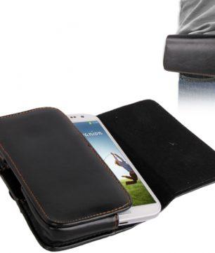 Lederen Hoes met Broekriem Klem voor o.a. de Samsung Galaxy S3/S4 -140x68x15mm