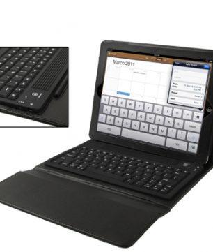 Lederen Hoes met ingebouwd Keyboard voor de iPad 2/3/4