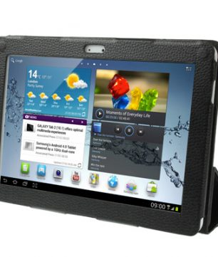 Samsung Galaxy Tab 2 10.1 / P5100 Lederen 3-Fold  Hoes met Standaard Zwart