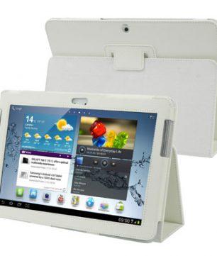 Samsung Galaxy Tab 2 10.1 / P5100 Lederen Hoes met Standaard Wit