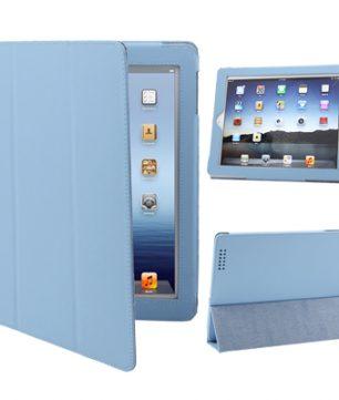 iPad 2 / iPad 3 / iPad 4 3-fold Elastische Leder Hoes Baby Blauw