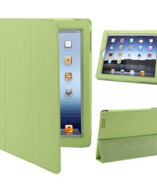 iPad 2 / iPad 3 / iPad 4 3-fold Elastische Leder Hoes Groen
