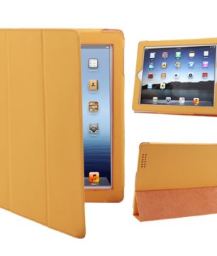 iPad 2 / iPad 3 / iPad 4 3-fold Elastische Leder Hoes Oranje