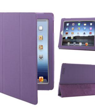 iPad 2 / iPad 3 / iPad 4 3-fold Elastische Leder Hoes Paars