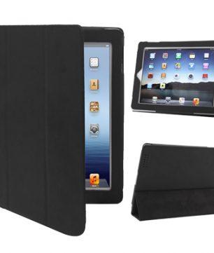 iPad 2 / iPad 3 / iPad 4 3-fold Elastische Leder Hoes Zwart
