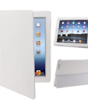 iPad 2 / iPad 3 / iPad 4 3-fold Elastische Leder iPad Hoes Wit