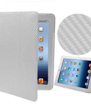 iPad 2/3/4 Carbon Fiber Look Flip Stand Leder Hoes Wit