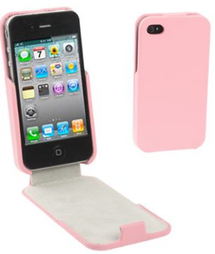 iPhone 4/4S Lederen Flip Case Roze