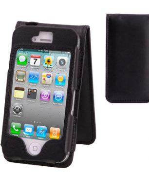 iPhone 4/4S Lederen Flip Hoes Zwart