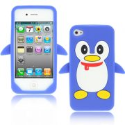 iPhone 4/4S Siliconen Pinguin Hoes Blauw