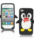 iPhone 4/4S Siliconen Pinguin Hoes Zwart