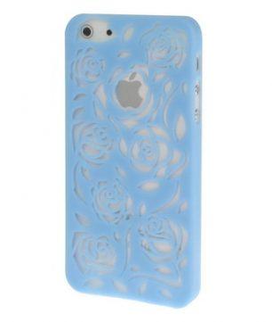 iPhone 5 Holle Warmte doorlatende Hoes - Bloemen Baby Blauw