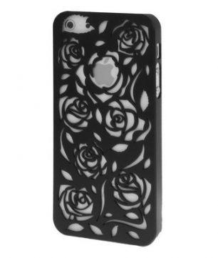 iPhone 5 Holle Warmte doorlatende Hoes - Bloemen Zwart