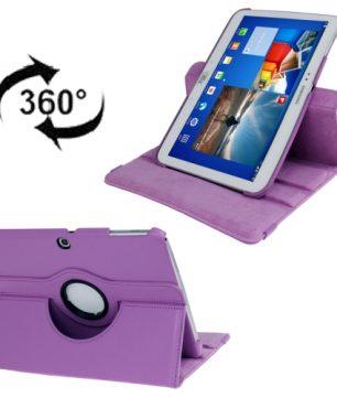 Draaibare Lederen Hoes en Houder voor Galaxy Tab 3 - 10.1 Inch - Paars