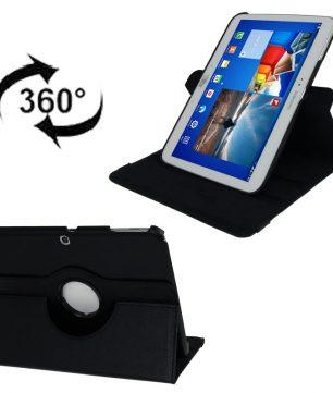 Draaibare Lederen Hoes en Houder voor Galaxy Tab 3 - 10.1 Inch - Zwart