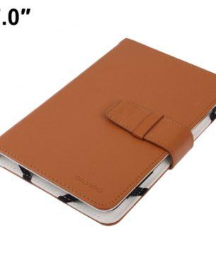 Lederen Bookcase hoes voor 7 Inch Tablets / E-Readers Universeel Toepasbaar Bruin