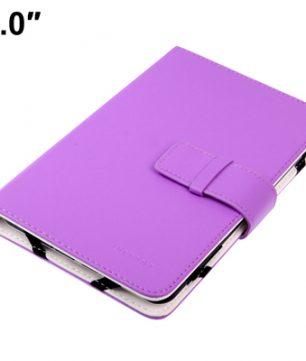 Lederen Bookcase hoes voor 7 Inch Tablets / E-Readers Universeel Toepasbaar Paars