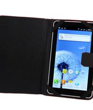 Lederen Hoes / Mapje voor 7 Inch Tablets / E-Readers Zwart
